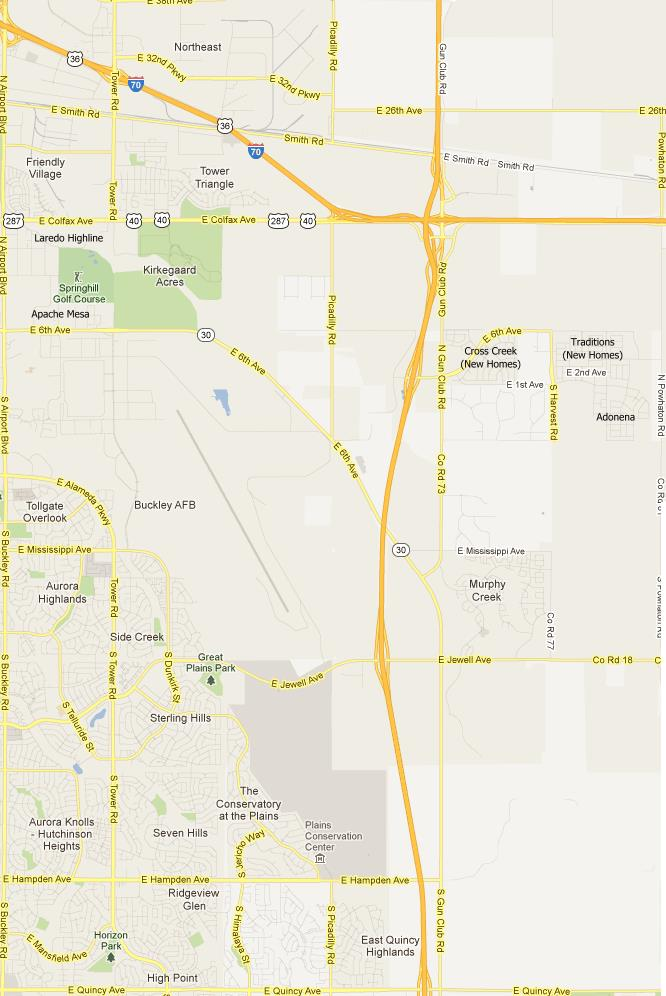 Aurora Colorado Northeast Subdivisions Map