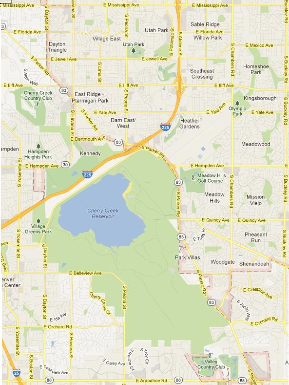 Aurora Colorado Southwest Subdivisions Map