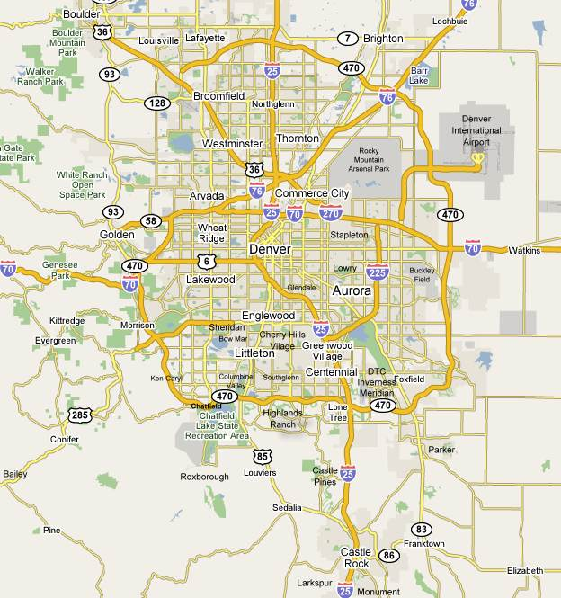 Denver Colorado metro area community map with links to townhomes for sale in each community