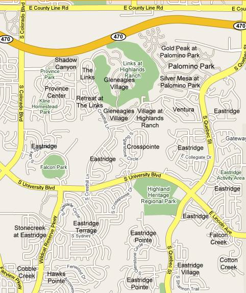 Highlands Ranch Community Center: Eastridge Subdivisions Map And List