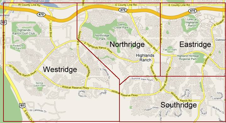 Highlands Ranch Colorado Residential Subdivisions Map and